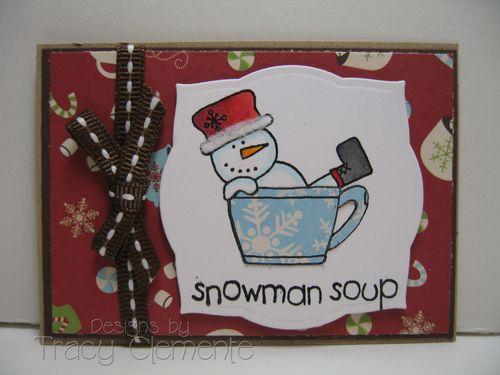 Snowman soup ATC